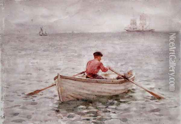 The Waterman and His Boat, 1921 Oil Painting - Henry Scott Tuke