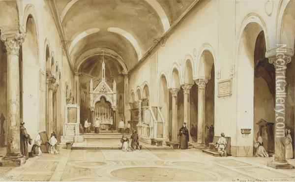 Interior Of The Church Of S. Maria In Cosmedin, Rome Oil Painting - Achille Vianelli