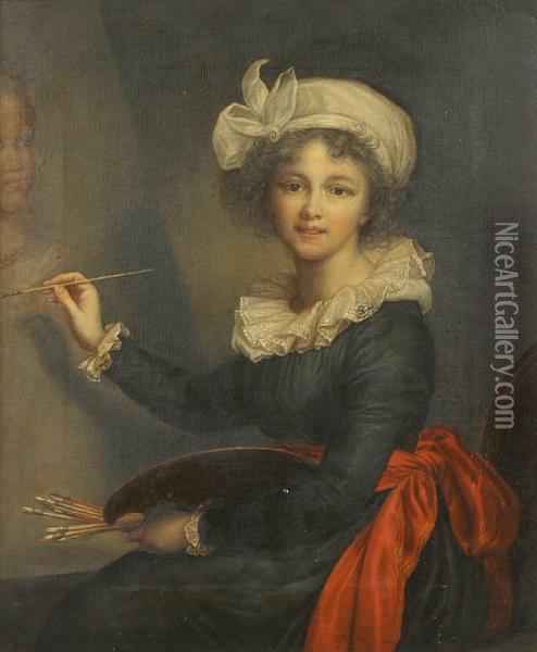 A Self Portrait Of The Artist Oil Painting - Elisabeth Vigee-Lebrun