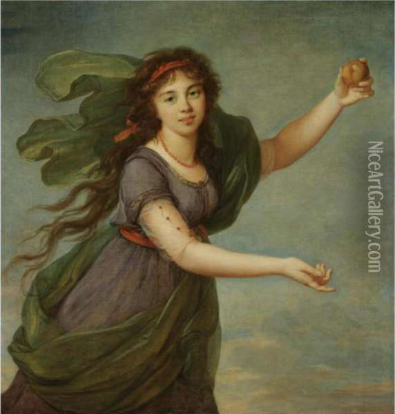 Portrait Of A Young Girl In The  Guise Of Atalanta, Said To Be Jeanne Julie Louise Le Brun (1780-1809),  The Artist's Daughter Oil Painting - Elisabeth Vigee-Lebrun