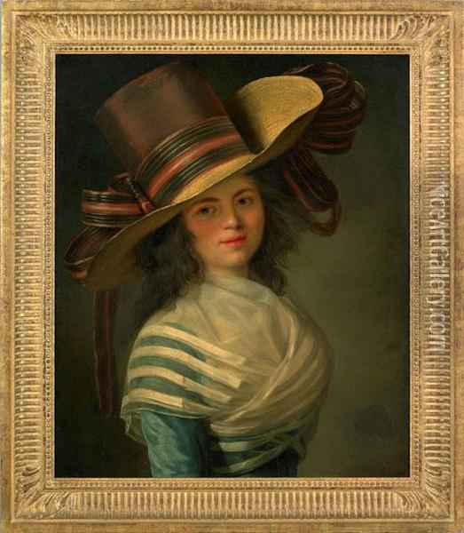 Portrait Of Ayoung Woman Wearing An Elaborate Hat With Ribbon And A Blue Dress Oil Painting - Elisabeth Vigee-Lebrun