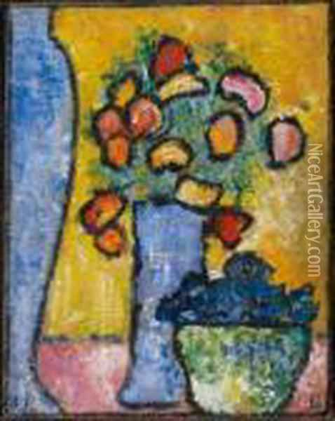 Still Life With Two Blue Vases, Flowers And Gentianbowls Oil Painting - Alexei Jawlensky