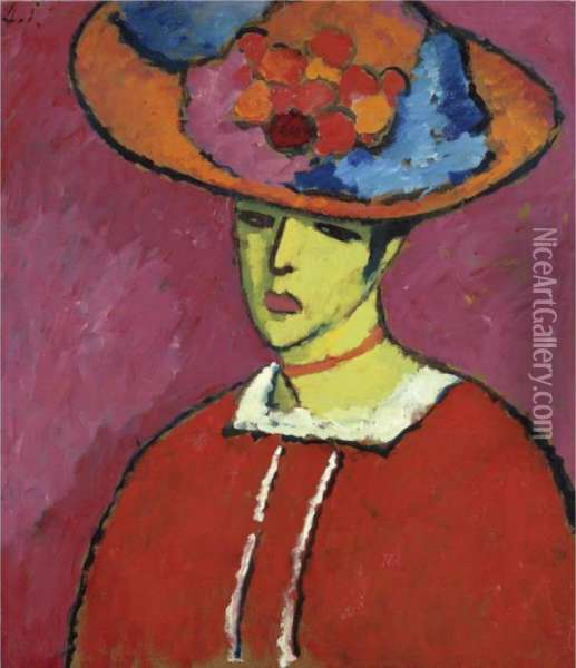 Schokko (schokko Mit Tellerhut)  Schokko (schokko With Wide-brimmed Hat) Oil Painting - Alexei Jawlensky