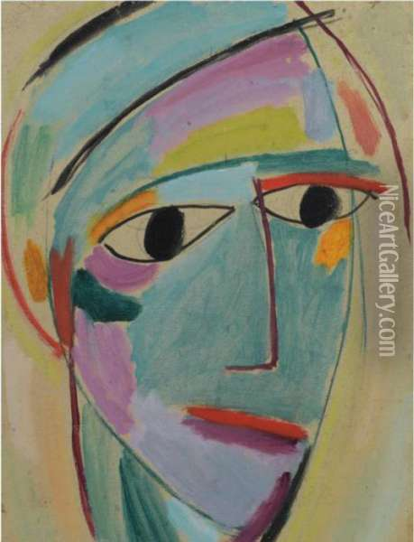 Mystischer Kopf: Dreiviertelprofil (mystical Head: Three-quarter Profile) Oil Painting - Alexei Jawlensky