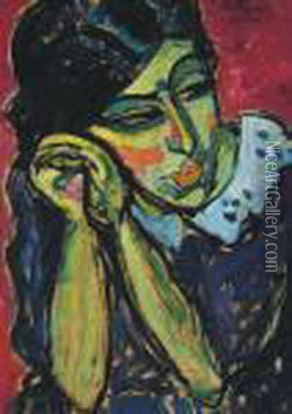 Madchen Mit Zopf Oil Painting - Alexei Jawlensky