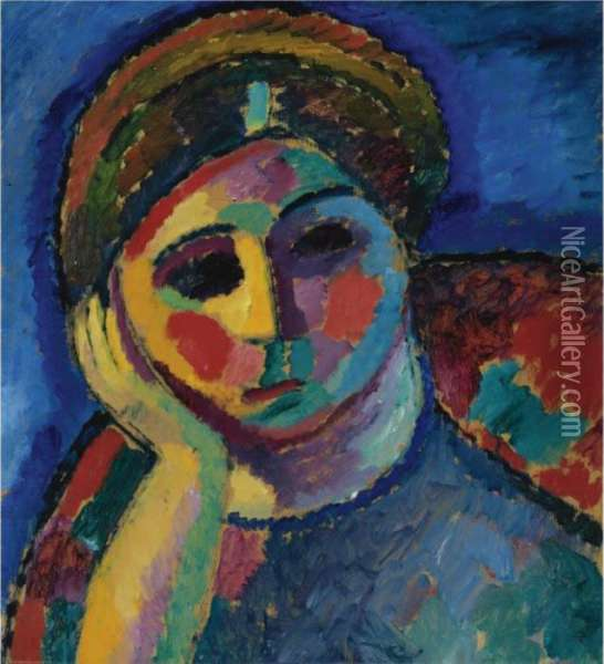 Die Sinnende (the Thinking Woman) Oil Painting - Alexei Jawlensky