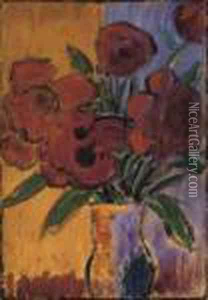 Grosses Stilleben (rote Blumen In Vase) Oil Painting - Alexei Jawlensky