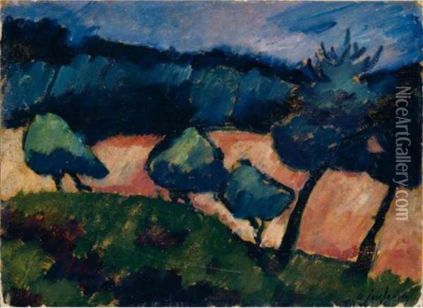 Baume Und Dunen In Prerow (trees And Dunes In Prerow) Oil Painting - Alexei Jawlensky