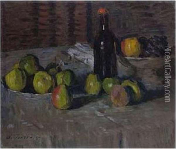 Stilleben Mit Apfeln Und Flasche (still Life With Apples And A Bottle) Oil Painting - Alexei Jawlensky