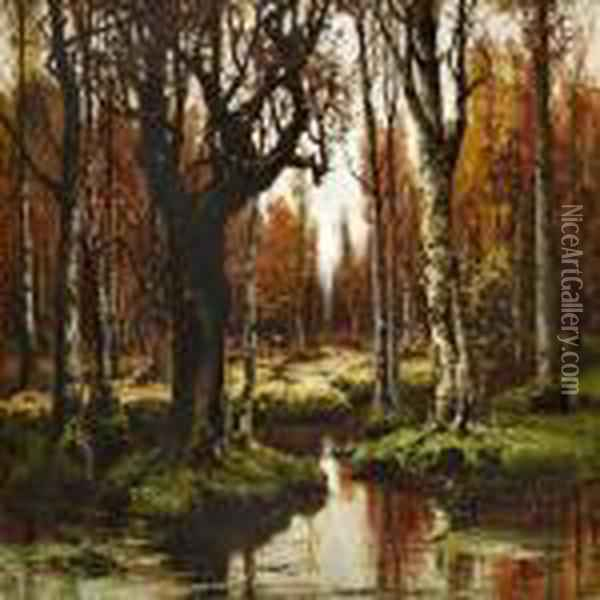 Quiet Autumn Day In A Russian Birch Forest Oil Painting - Iulii Iul'evich (Julius) Klever