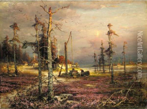 The Hamlet Well Oil Painting - Iulii Iul'evich (Julius) Klever
