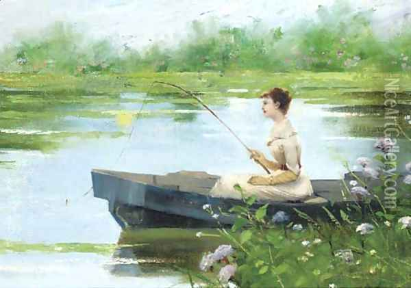 A tranquil afternoon Oil Painting - Auguste Toulmouche