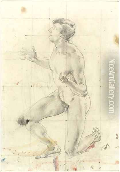 Study of a Kneeling Nude Man, turned to the left Oil Painting - Henry Tonks