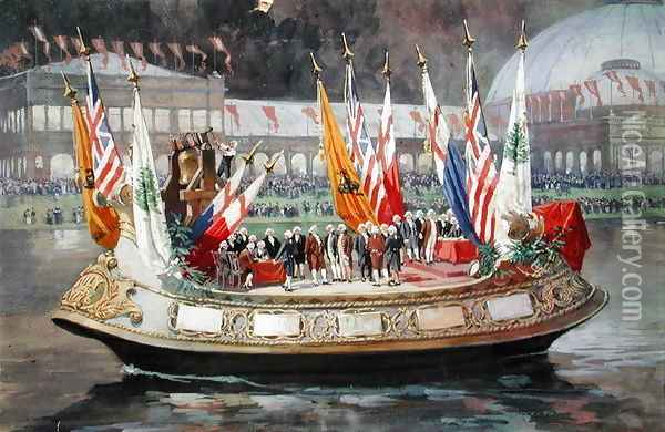 The Declaration of Indepedence Barge at the Worlds Columbian Exposition in Chicago 1893 Oil Painting - Thure de Thulstrup