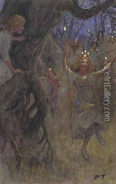 They flitted by in their new robes Oil Painting - Percy Tarrant