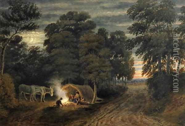 A Gypsy Camp Oil Painting - William Turner