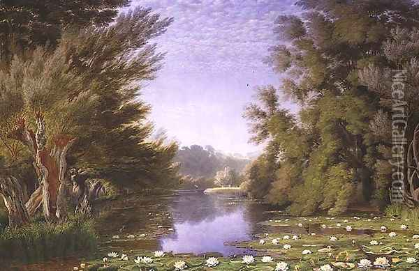 Water Lillies on the Cherwell Oil Painting - William Turner