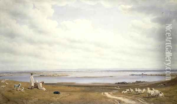 Portsmouth Harbour from Portsdown Hill Oil Painting - William Turner