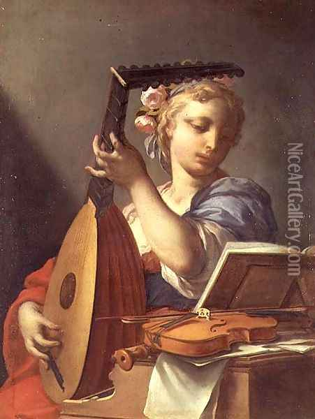 Personification of Music A Young Woman Playing a Lute Oil Painting - Francesco Trevisani