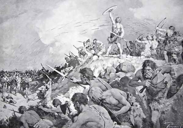 The Battle of Mons Badonicus, c.500 AD, illustration from The History of the Nation Oil Painting - Dudley C. Tennant