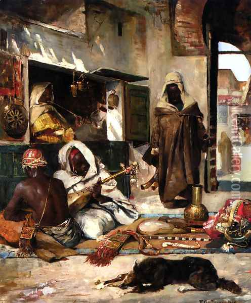 An Arms Merchant in Tangiers Oil Painting - Gyula Tornai