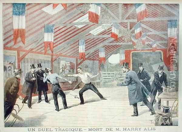 A Tragic Duel The Death of Monsieur Harry Alis, from Le Petit Journal, 17th March 1895 Oil Painting - Oswaldo Tofani