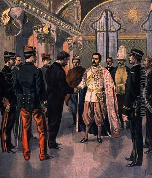 Paul Doumer 1857-1932, Governor General of Indochina, Received by the King of Siam in Bangkok, from Le Petit Journal, 7th May 1899 Oil Painting - Oswaldo Tofani