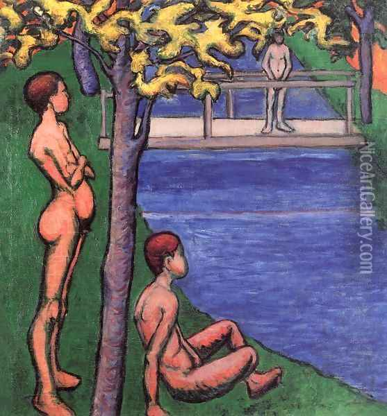 Bathers 1907 Oil Painting - Lajos Tihanyi