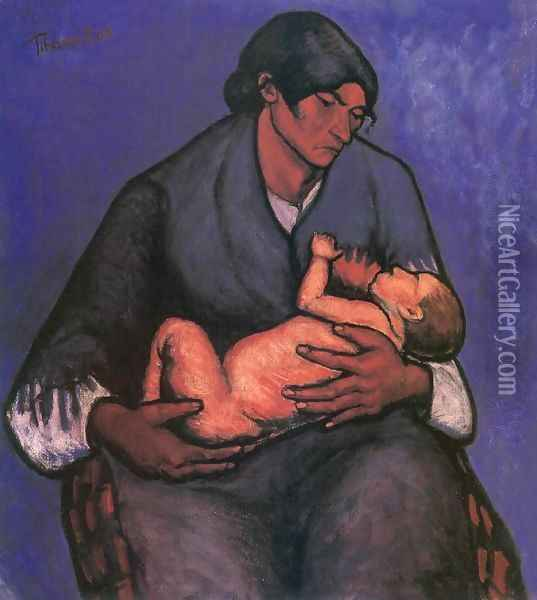 Gipsy Woman with Child 1908 Oil Painting - Lajos Tihanyi