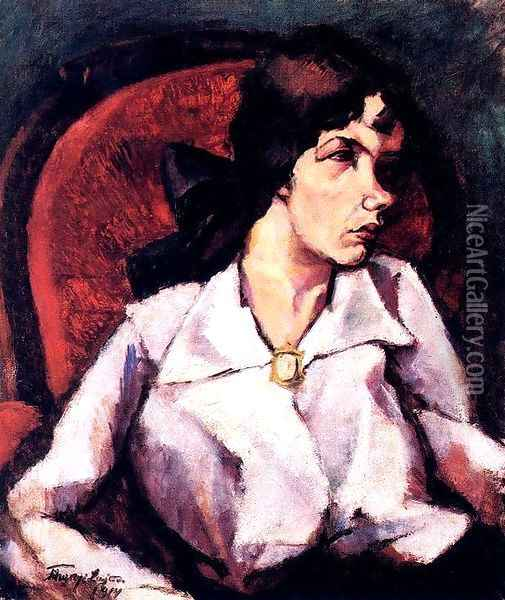 Portrait of a Woman Magda Leopold 1914 Oil Painting - Lajos Tihanyi