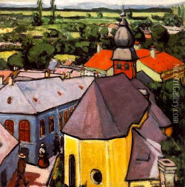 View of a Street at Nagybanya 1908 Oil Painting - Lajos Tihanyi