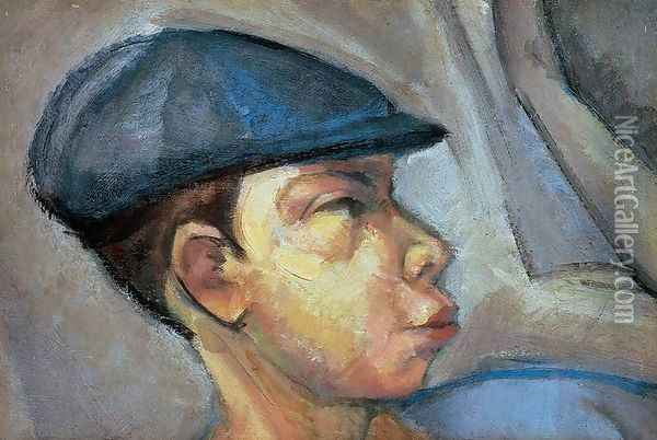 Self-portrait Wearing Cap c. 1910 Oil Painting - Lajos Tihanyi