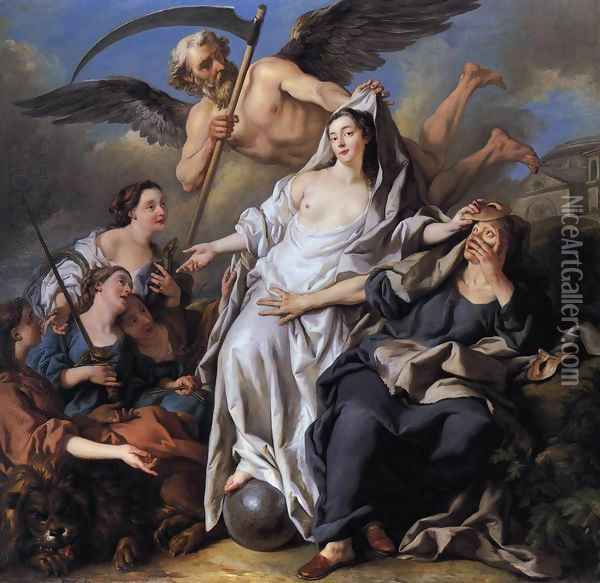 An Allegory of Time Unveiling Truth 1733 Oil Painting - Jean Francois de Troy