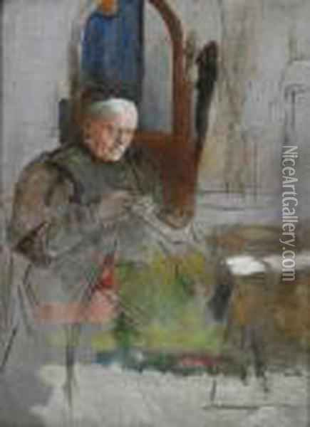 Seated Old Woman Sewing Oil Painting - Adolph von Menzel