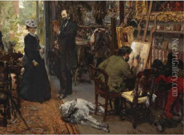 Meissonier In Seinem Atelier In Poissy (meissonier In His Studio At Poissy) Oil Painting - Adolph von Menzel