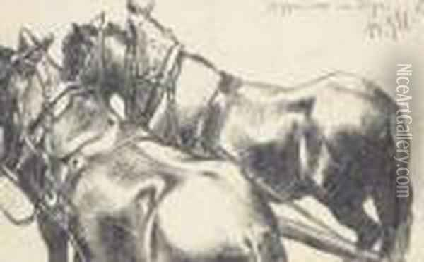 Two Carthorses In Harness, Seen From Behind Oil Painting - Adolph von Menzel