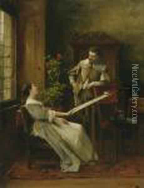 Flirt (la Broderie) Oil Painting - Mihaly Munkacsy