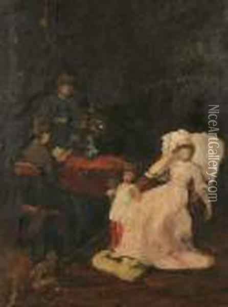 Study For The Convalescent Oil Painting - Mihaly Munkacsy