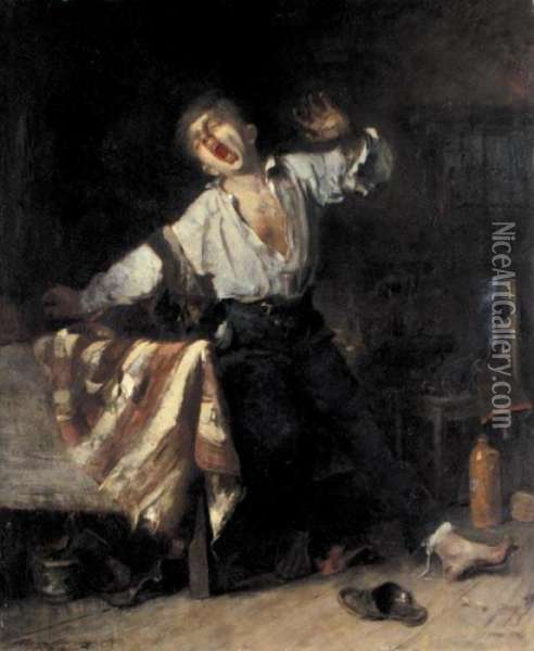 The Lazy Apprentice Oil Painting - Mihaly Munkacsy