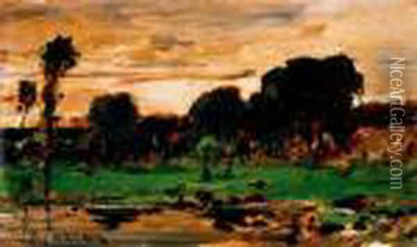 Colpach Landscape, About 1880 Oil Painting - Mihaly Munkacsy