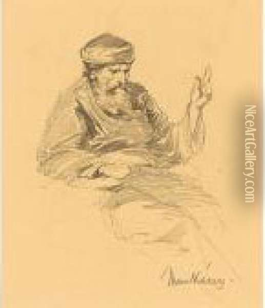 Study Of An Arab Man; Together With Five Other Studies Of The Artist, All Signed Oil Painting - Mihaly Munkacsy