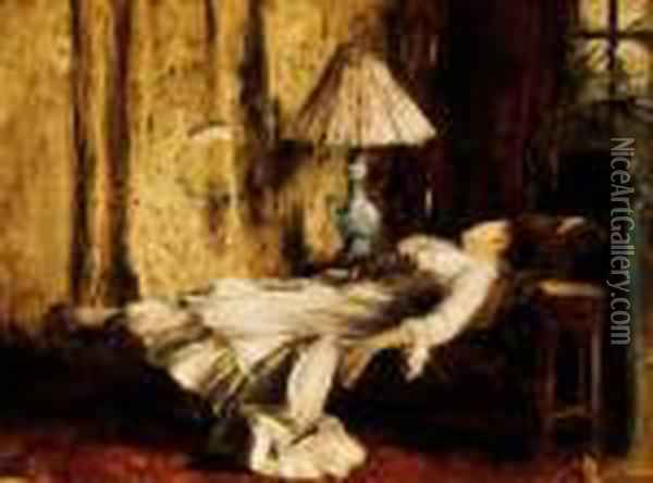 Resting Lady Oil Painting - Mihaly Munkacsy