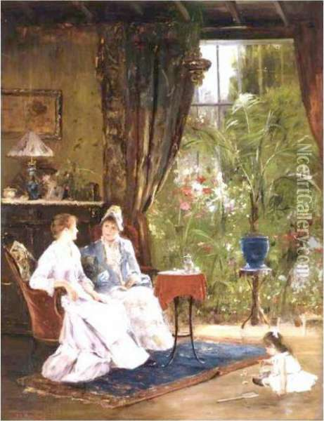 In The Conservatory Oil Painting - Mihaly Munkacsy