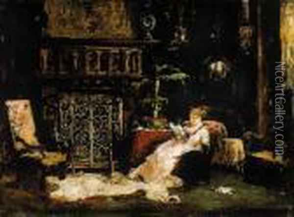 Paris Salon (the Artists's Wife) Oil Painting - Mihaly Munkacsy