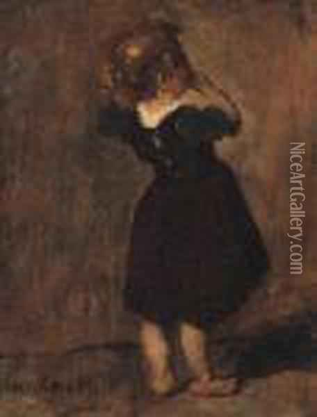 Study Of A Young Girl Oil Painting - Mihaly Munkacsy