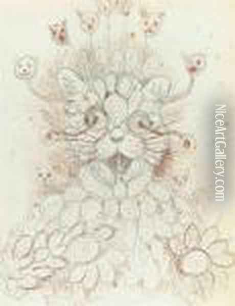 The Cat With Many Faces Oil Painting - Louis William Wain