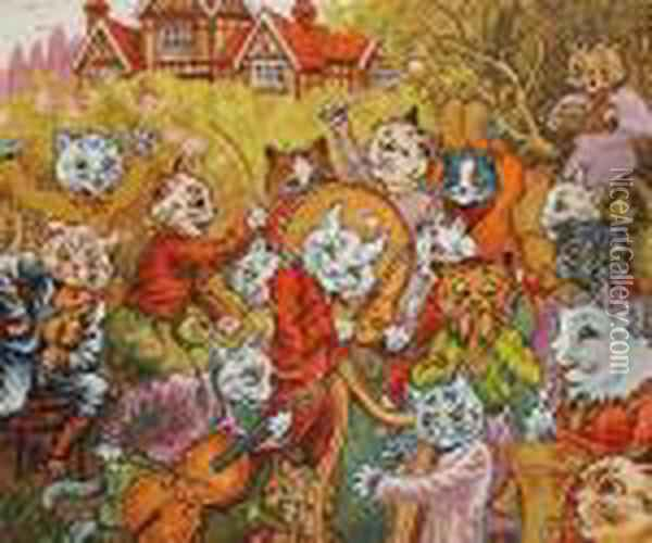 And The Band Plays On! Oil Painting - Louis William Wain