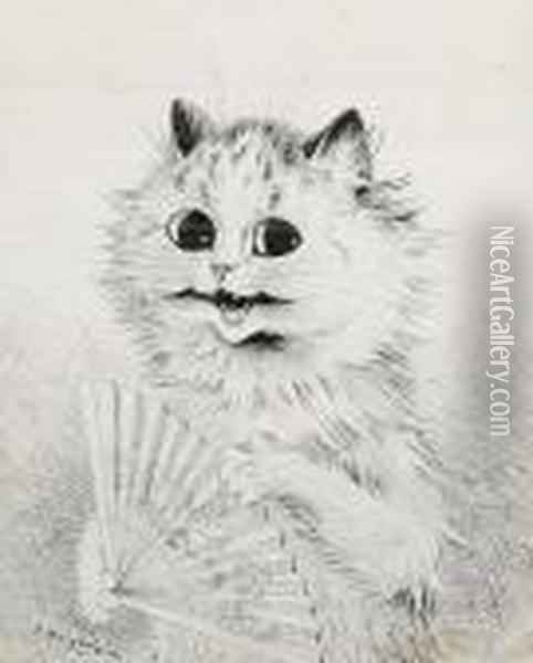 A Cat With A Fan Oil Painting - Louis William Wain