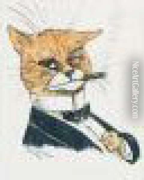 A Humorous Cat Smoking And Dressed In A Evening Suit And Dicky Bow. Oil Painting - Louis William Wain