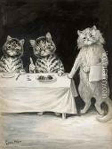 The Waiter Oil Painting - Louis William Wain